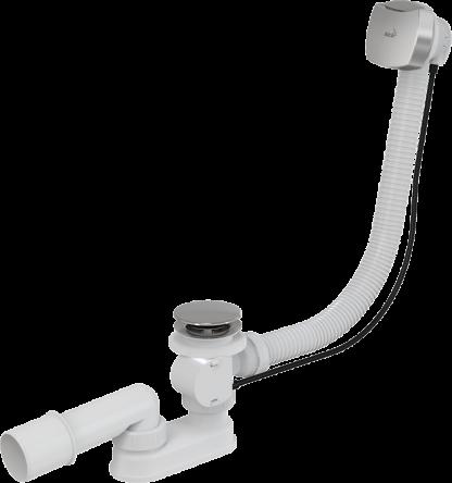 Сифон для ванны автомат комплект хромированный, квадратный перелив (KollerPool) - A51CRM