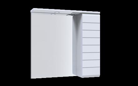 Aquart LINE Зеркало 70 (Белое), со шкафчиком и подсветкой
