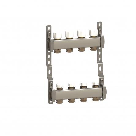 Luxor Коллектор в сборе нерж. сталь для подключ. 10 контуров, с отсек. и термоклап.