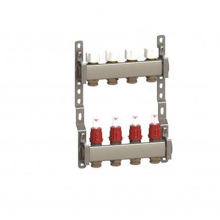 Luxor Коллектор в сборе нерж. сталь для подключ. 10 контуров, с расход. и термоклап.