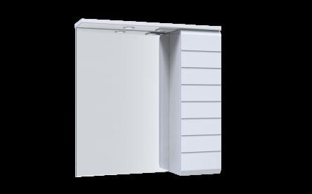 Aquart LINE Зеркало 65 (белое), со шкафчиком и подсветкой