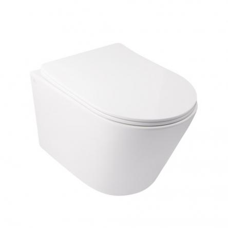 Унітаз підвісний Qtap Swan безобідковий з сідінням Slim Soft-close QT16335178W