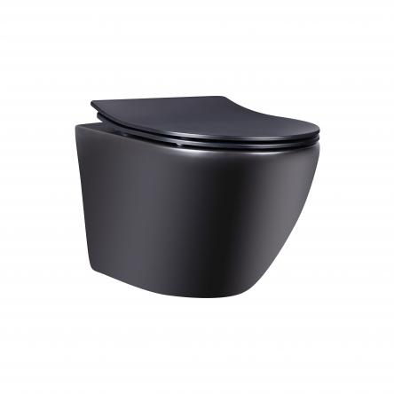 Унітаз підвісний Qtap Robin безобідковий з сідінням Slim Soft-close QT1333046ENRMB