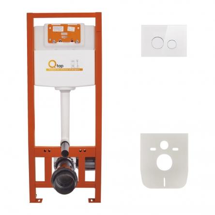 Набір інсталяція 4 в 1 Qtap Nest ST з круглою панеллю змиву QT0133M425V1164GW