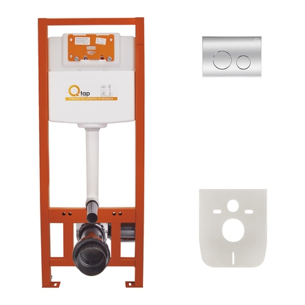 Набір інсталяція 4 в 1 Qtap Nest ST з круглою панеллю змиву QT0133M425M11112CRM