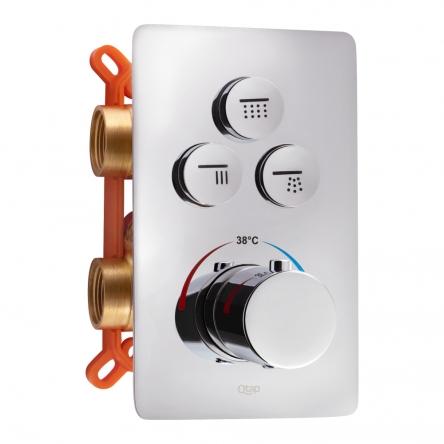 Змішувач прихованого монтажу для душу Qtap Votice 6443T105NKC для трьох споживачів