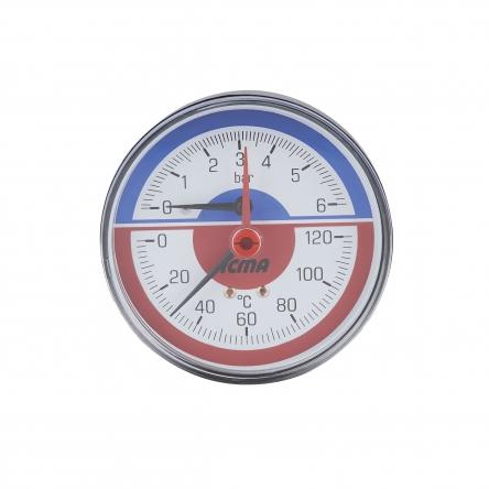 """Термоманометр Icma 1/2"""" 0-6 бар, заднє підключення №259"""