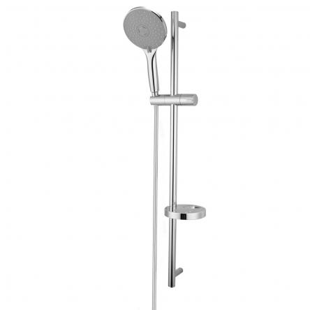 Imprese NETKA штанга душевая L-90 см, мыльница, ручной душ 3 реж, шланг 1,5 м полимер с мет.эффектом вращ.конус (Anti-Twist), карт.короб. - 9014003