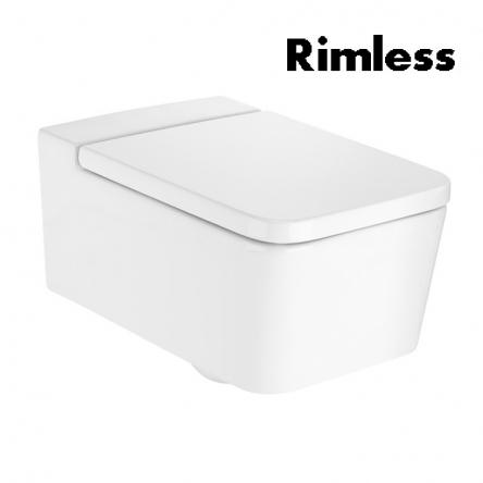 Roca INSPIRA SQUARE Rimless унитаз подвесной 37*56*44см, горизонтальный выпуск, без сиденья - A346537000