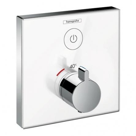 Hansgrohe ShowerSelect Термостат для одного потребителя, стеклянный, СМ, белый/хром - 15737400