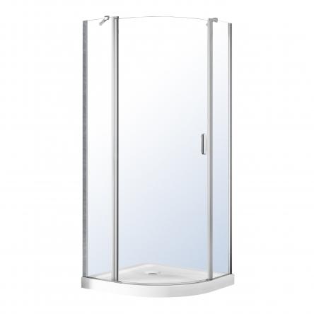 VOLLE ORLANDO душевая кабина 90*90*205см, на мелком поддоне, распашная, хром, стекло прозрачное 6мм - 10-22-504