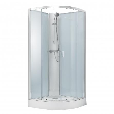 VOLLE OLIVA бокс 90*90*205см, без крыши, на мелком поддоне, профиль хром, стекло прозрачное - 11-88-173