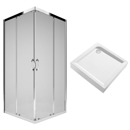 Kolo Комплект: REKORD душевая кабина 90см, квадратная, прозрачное стекло, серебристый блеск + FIRST поддон 90*90см, квадратный, с интегр. панелью - PKDK90222003+XBK1690000