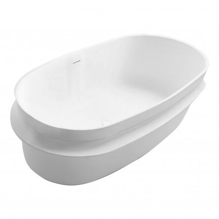 VOLLE Ванна 163*75*53см отдельностоящая каменная Solid surface, с полочкой - 12-40-054