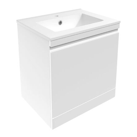 ORLANDO комплект мебели 60см белый: тумба подвесная со скрытым ящиком + умывальник накладной арт 13-01-042A