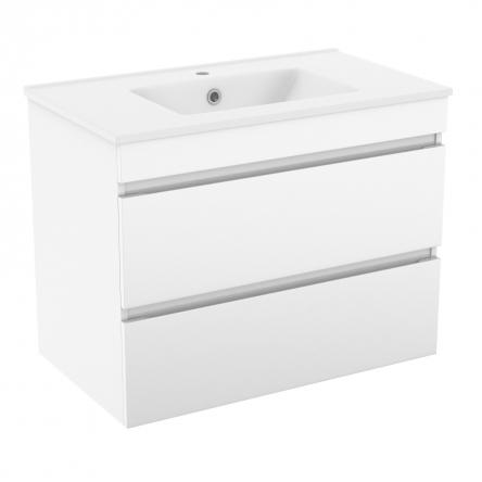 FIESTA комплект мебели 80см белый: тумба подвесная, 2 ящика + умывальник накладной арт 13-01-042D