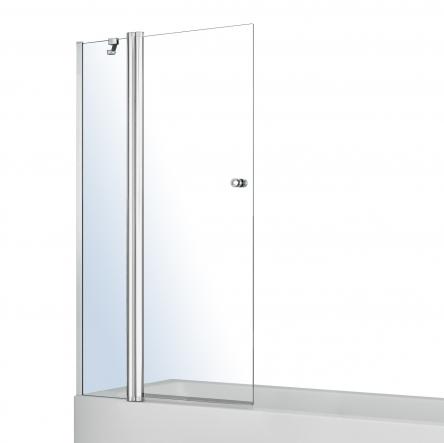 VOLLE Шторка на ванну 120*140см, с одним неподвижным элементом и поворотным на 180°, с подъемом, прозрачное стекло 6мм, с креплением со стены и ручкой - 10-11-101