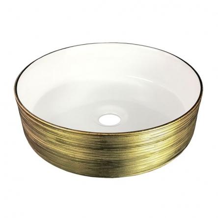 Volle Умывальник 36*36*12см накладной керамический круглый, золото/белый