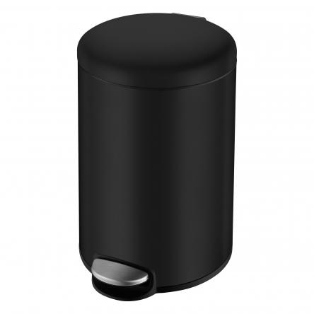 VOLLE Ведро мусорное округлое 12л, с педалью, черное - 14-12-53B