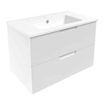 LIBRA комплект мебели 80см белый: тумба подвесная, 2 ящика + умывальник накладной арт 15-41-80