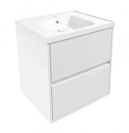 TEO комплект мебели 65см белый: тумба подвесная, 2 ящика + умывальник накладной арт 15-88-060