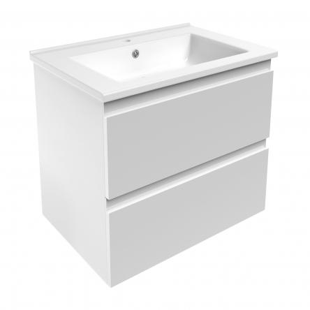 VOLLE LEON комплект мебели 65см белый: тумба подвесная, 2 ящика + умывальник накладной арт 13-01-402А - 15-11-65