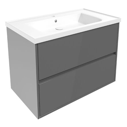 TEO комплект мебели 80см серый: тумба подвесная, 2 ящика + умывальник накладной арт 15-88-080