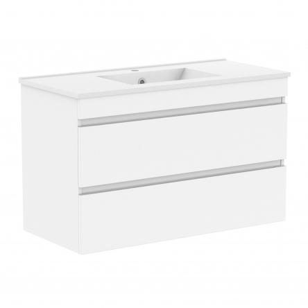 VOLLE FIESTA комплект мебели 100см белый: тумба подвесная, 2 ящика + умывальник накладной арт 13-01-042F - 15-100-01