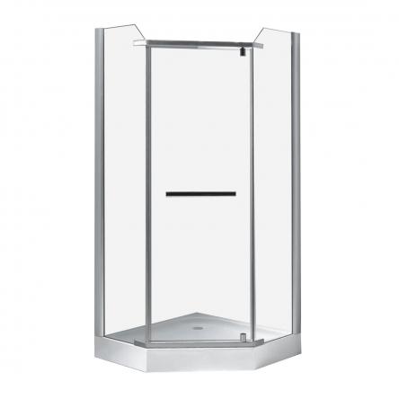 RJ DUCT душ. кабина 90*90*200 см, пятиугольная, распашная, стекло прозрачное, 8мм, с мелким поддоном : 90RZ079