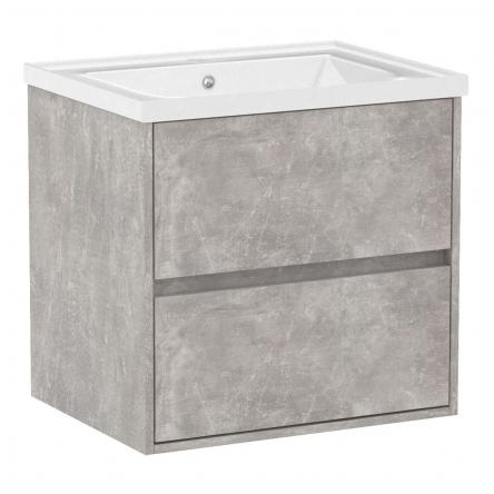 VOLLE TEO комплект мебели 65см бетон: тумба подвесная, 2 ящика + умывальник накладной арт 15-88-060 - 15-88-61C