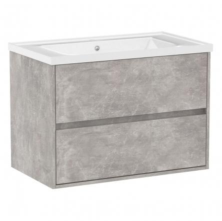 VOLLE TEO комплект мебели 80см бетон: тумба подвесная, 2 ящика + умывальник накладной арт 15-88-080 - 15-88-81C