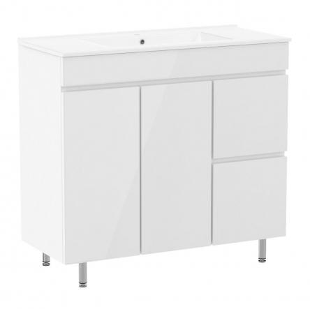 RJ FLY комплект мебели 90см, белый: тумба напольная, 2 ящика, 1 дверца, корзина для белья + умывальник накладной арт RZJ910 : RJ84900